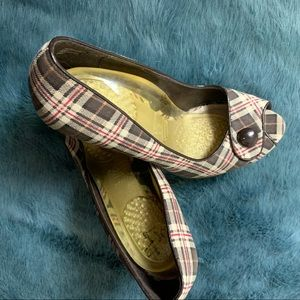 Dr Scholl's brown plaid heels size 9